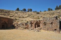 Het eiland van de maan wordt gevestigd op meer Titicaca Stock Afbeelding
