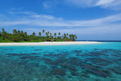 Het Eiland van de Maldiven in oceaan Stock Foto