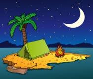 Het eiland van de nacht op het overzees Royalty-vrije Stock Afbeelding