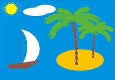 Het eiland van de palm vector illustratie