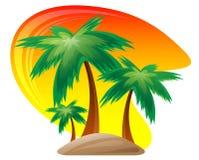 Het eiland van de palm bij zonsondergangachtergrond. Stock Illustratie