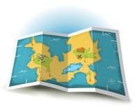 Het Eiland van de schat en de Kaart van de Piraat Stock Afbeeldingen