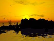Het eiland van de woestijn aan de zonsondergang vector illustratie