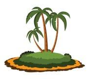 Het eiland van de woestijn met palmen Royalty-vrije Stock Foto