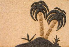 Het Eiland van de woestijn op de Muur van de Steen Royalty-vrije Stock Foto