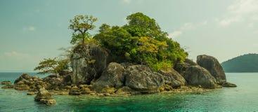 Het eiland van de Zhivopistnyjwoestijn bij oceaan Royalty-vrije Stock Afbeelding