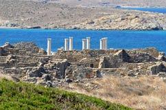 Het eiland van Delos in Griekenland. stock foto