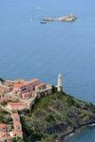 Het eiland van Elba van de Portoferraiohaven Stock Foto