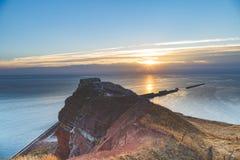 Het Eiland van Helgoland bij laatste licht stock afbeeldingen