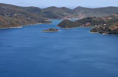 Het eiland van Ithaki in Griekenland Stock Afbeeldingen