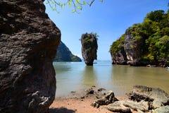 Het Eiland van James Bond Khao Phing Kan De Baai van Nga van Phang thailand Stock Afbeelding