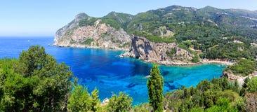 Het eiland van Korfu en Ionische overzees Stock Afbeelding