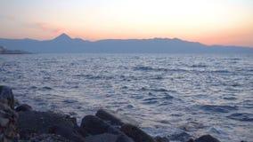 Het eiland van Kreta bij schemer stock video