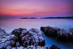 Het Eiland van Kroatië Rogoznica na zonsondergang Royalty-vrije Stock Afbeelding