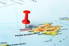Het Eiland van Mallorca, de kaart van Spanje Stock Fotografie
