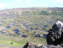 Het Eiland van Pasen - Kau Rano vulkaan Stock Afbeeldingen