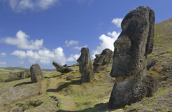 Het Eiland van Pasen Moai - Chili - Stille Zuidzee Stock Afbeelding