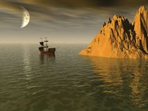 Het Eiland van Sailship royalty-vrije stock afbeelding