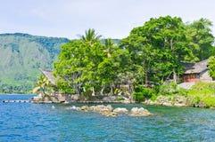 Het eiland van Samosir in Meer Toba, Sumatra Royalty-vrije Stock Foto's