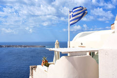 Het eiland van Santorini, Griekenland Oia, Fira-stad Traditionele en beroemde huizen en kerken over de Caldera Royalty-vrije Stock Foto