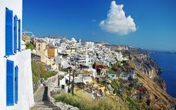 Het eiland van Santorini, stad Fira Stock Afbeeldingen
