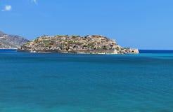 Het eiland van Spinalonga in Kreta, Griekenland Stock Fotografie
