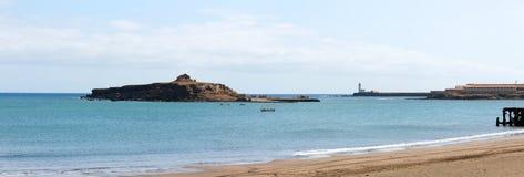 Het eiland van St Mary, vuurtoren Maria Pia Stock Afbeeldingen