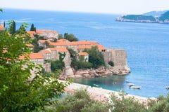 Het eiland van Stefan van Sveti Stock Foto