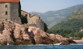 Het eiland van Stefan van Sveti stock afbeeldingen