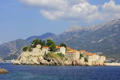 Het eiland van Stefan van Sveti Stock Foto's