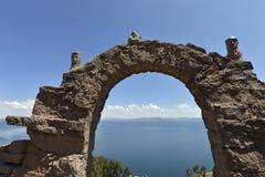 Het eiland van Taquile, Titicaca meer, Peru stock afbeelding