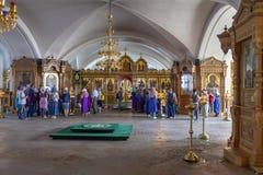 Het eiland van Valaam De Kathedraal van de Verlossertransfiguratie, de Lagere tempel stock foto's