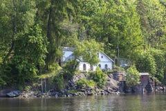 Het eiland van Valaam Pompstation royalty-vrije stock fotografie