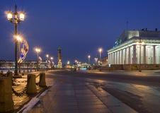 Het Eiland van Vasilievsky bij Nacht Stock Foto
