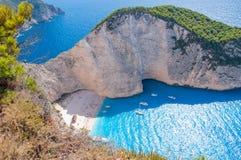 Het Eiland van Zakynthos, Griekenland Wrakstrand stock fotografie