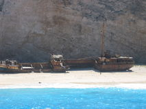 Het eiland van Zante, Griekenland, Navagio stock foto's