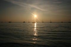 Het Eiland Wight bij zonsondergang Royalty-vrije Stock Foto's