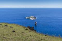 Het eilandje van Motu Nui van de vogel man rite stock afbeelding