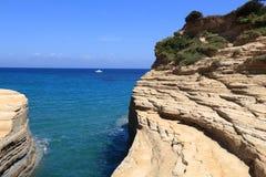 Het eilandkust van Korfu stock foto