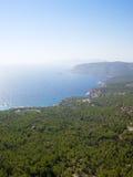 Het eilandkustlijn van Rhodos. Stock Foto