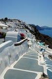 Het eilandOia van Santorini mening Stock Afbeeldingen