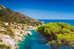 Het eilandoverzees van Elba dichtbij Chiessi Stock Foto