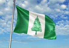 Het Eilandvlag die van Norfolk met hemel op realistische 3d illustratie als achtergrond golven vector illustratie