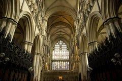 Het eind binnenlandse mening van het oosten van Beverely-Munster van het koor, Beverley, het Berijden van het Oosten van Yorkshir royalty-vrije stock afbeeldingen