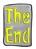 Het eind? dat op een oude schrijfmachine en een oud document wordt geschreven royalty-vrije stock foto