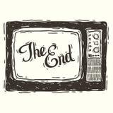 Het eind? dat op een oude schrijfmachine en een oud document wordt geschreven Royalty-vrije Stock Afbeelding