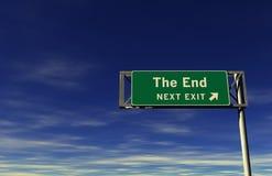 Het eind - het Teken van de Uitgang van de Snelweg Stock Afbeeldingen