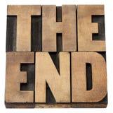 Het eind in houten type stock afbeelding