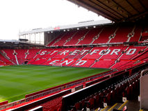 Het eind Stretford van Oud Stadion Trafford Stock Afbeeldingen