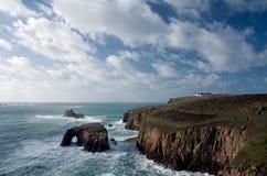 Het eind van het land, Cornwall. Engeland Stock Afbeeldingen
